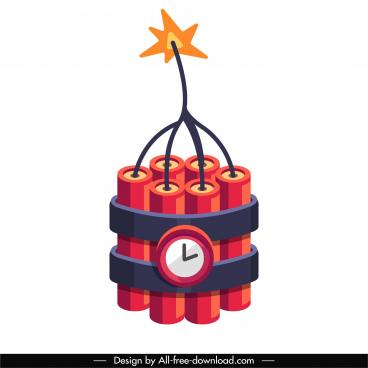 clock bomb icon colored 3d sketch
