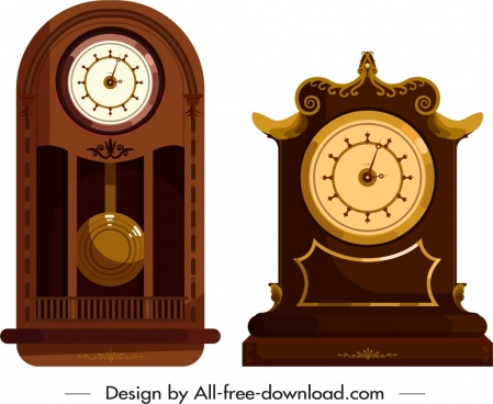 clock icons elegant retro decor flat brown design