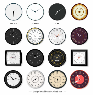 clock mode icons colored flat shapes sketch
