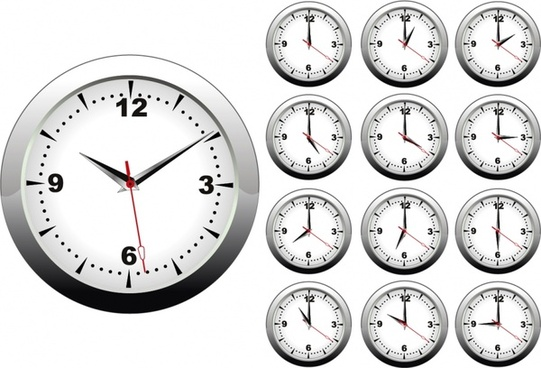round clock surface templates modern white metallic design