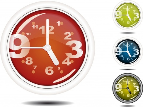 round clock templates shiny modern colored dynamic numbers