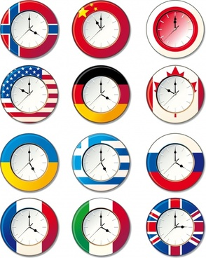 clock icons nations flags decor flat circles design