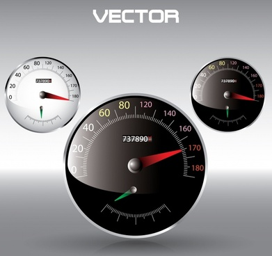 speedometer icons shiny modern flat black white decor