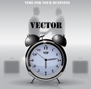 business conceptual background clock icon businessmen silhouette