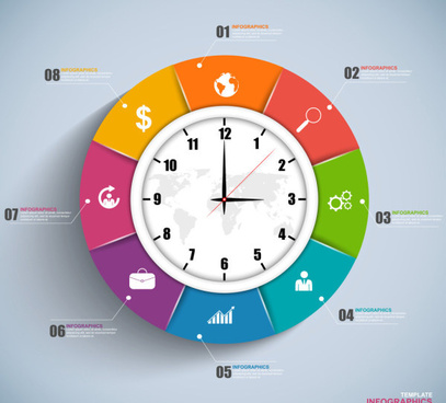 clock with infographics design vector