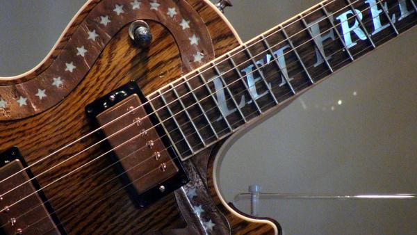 close up of spirit of america gibson les paul guitar at ellis island 3182011