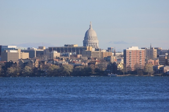 close view of madison skyline in madison wisconsin
