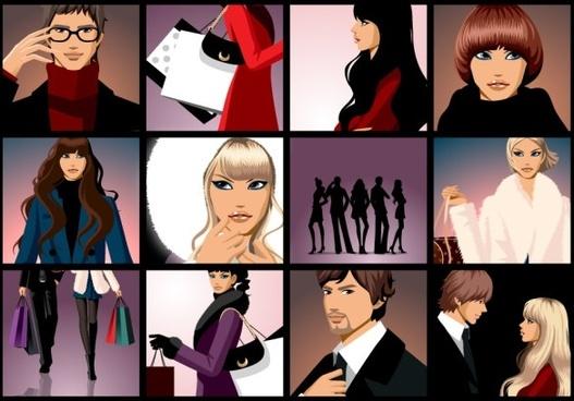 closeup of men and women vector fashion