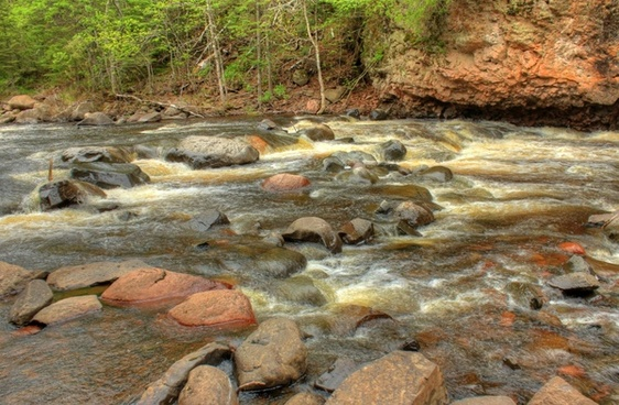 closeup of the rapids at cascade river state park minnesota