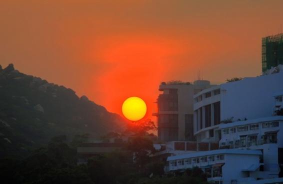 closeup sunset in hong kong china