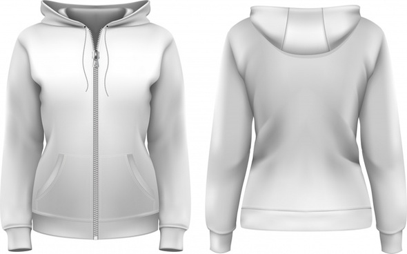 Clothes Hoodie Zipper Template Vector