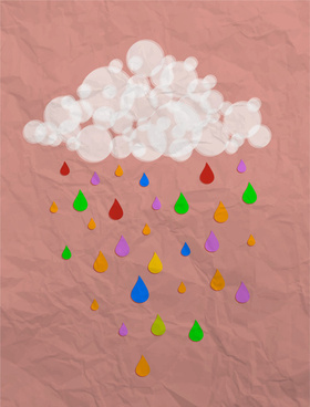 cloud and rain in paper art