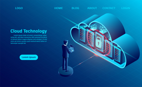cloud computing concept data security concept online computing technology big data flow processing concept 3d servers and datacenter isometric flat design