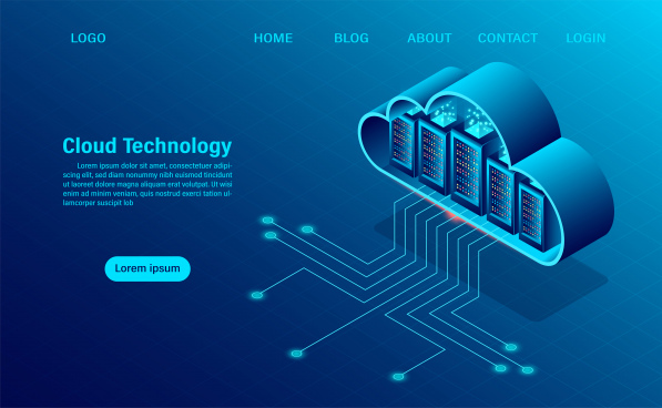cloud computing concept online computing technology big data flow processing concept 3d servers and datacenter isometric flat design vector illustration