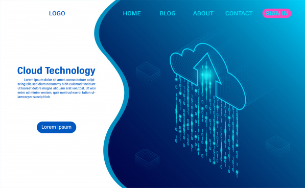 cloud computing technology concept digital service or app with data transfering data processing protecting data security concept isometric flat design