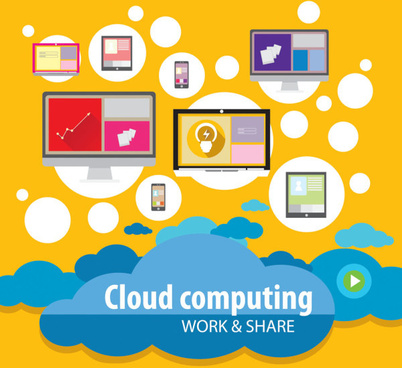 cloud computing work template vector