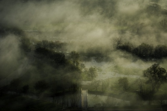 cloud dark fog forest haze lake landscape light