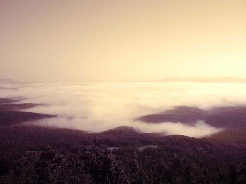 cloud dawn evening field fog hill lake landscape