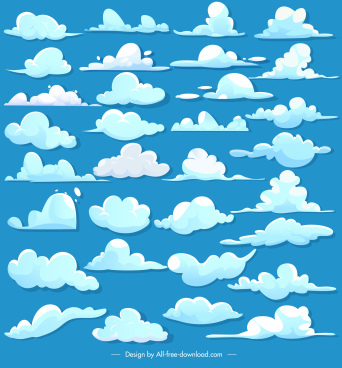 cloud design elements colored flat shapes sketch