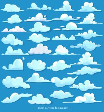 cloud design elements colored flat shapes sketch