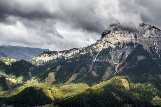 cloud environment forest hiking hill landscape