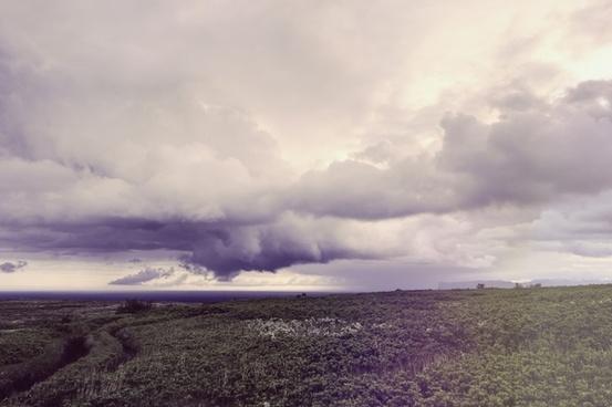 cloud evening field horizon horizontal landscape
