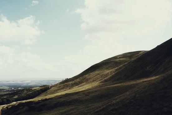 cloud field grass hill horizon landscape mountain