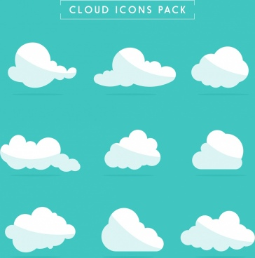 cloud icons collection white flat shapes