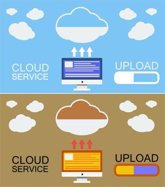cloud service concepts illustration in various colors