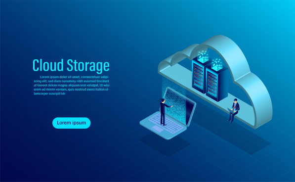cloud storage online computing storage concept isometric flat design vector illustration