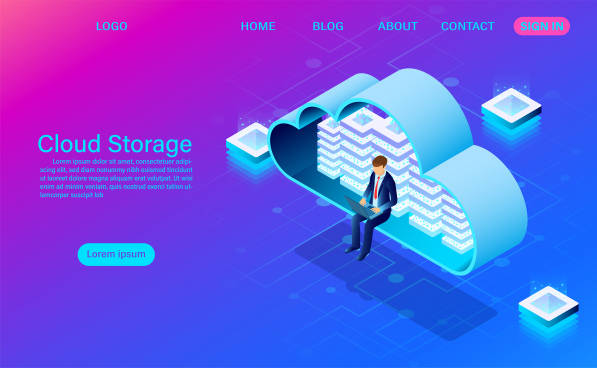 cloud storage technology and networking concept online computing technology big data flow processing concept vector illustration