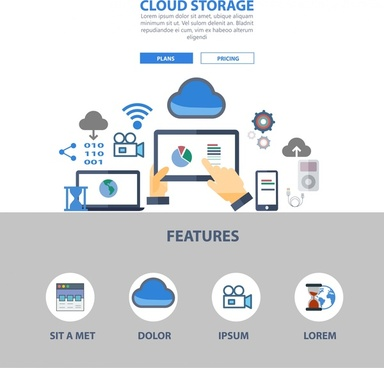 cloud storage website design illustration with computing symbols