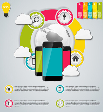 cloud tech concept template vector