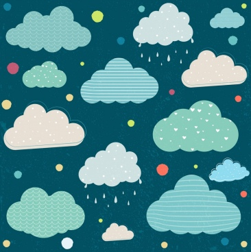 clouds background colored flat decoration repeating design