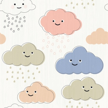 clouds background cute stylized icons multicolored handdrawn flat