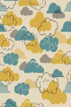 clouds background handdrawn icon colored retro design