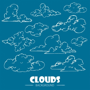 clouds background handdrawn sketch various shapes