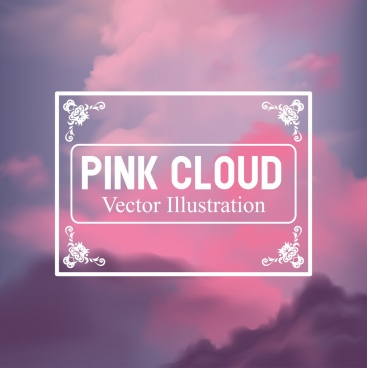clouds background pink blurred design classical frame decor