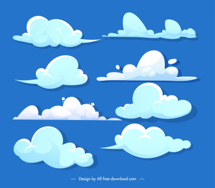 clouds background template bright colored flat decor