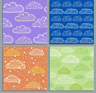 clouds background templates blue violet green orange design