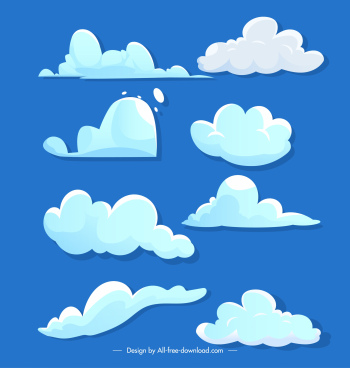 clouds design elements handdrawn flat shapes sketch