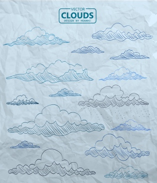 clouds drawing flat colored handdrawn sketch