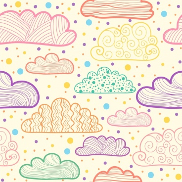 clouds drawing multicolored flat handdrawn sketch