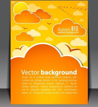 booklet cover template sky elements decor modern flat