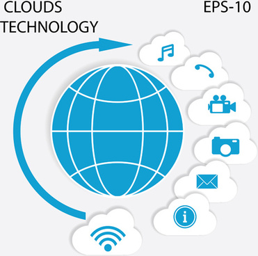 clouds technology infographics vector
