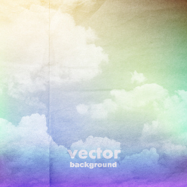 clouds with crumpled paper vector background