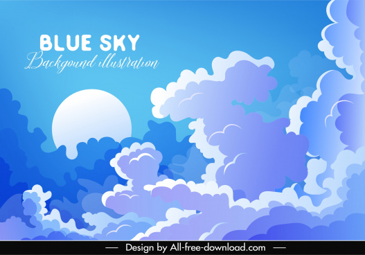 cloudy sky background blue white design