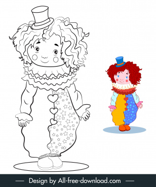clown icon cute handdrawn cartoon sketch
