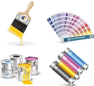 cmyk paint bucket vector