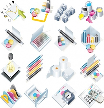 objects icons colored modern 3d design